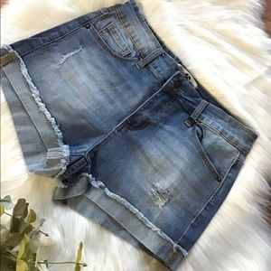 Pants - Light Wash Distressed Denim Shorts